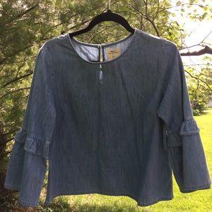 Gap denim bell sleeve blouse.